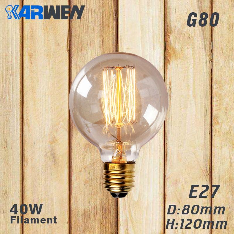 Эдисон лампы E27 40 Вт накаливания подвесной светильник в стиле ретро 220V ST64 A19 T45 T10 G80 G95 ампулы Винтаж лампа Эдисона лампа накаливания светильник лампочка - Цвет: G80 filament