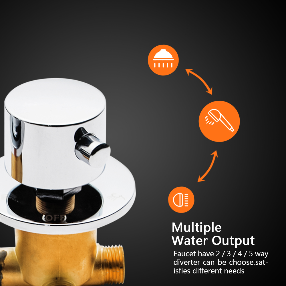 2/3/4 Output 12.5cm Screw Thread Brass Mixing Valve Tap Thermostatic Shower Faucet  Diverter Cold & Hot Water Shower Mixer