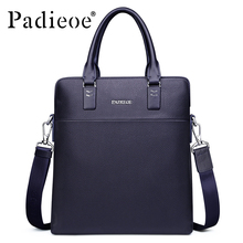 Padieoe Men's Genuine Cow Leather Messenger Bag High Quality Crossbody Bag Luxury Brand Handbag Mens Travel Shoulder Bags