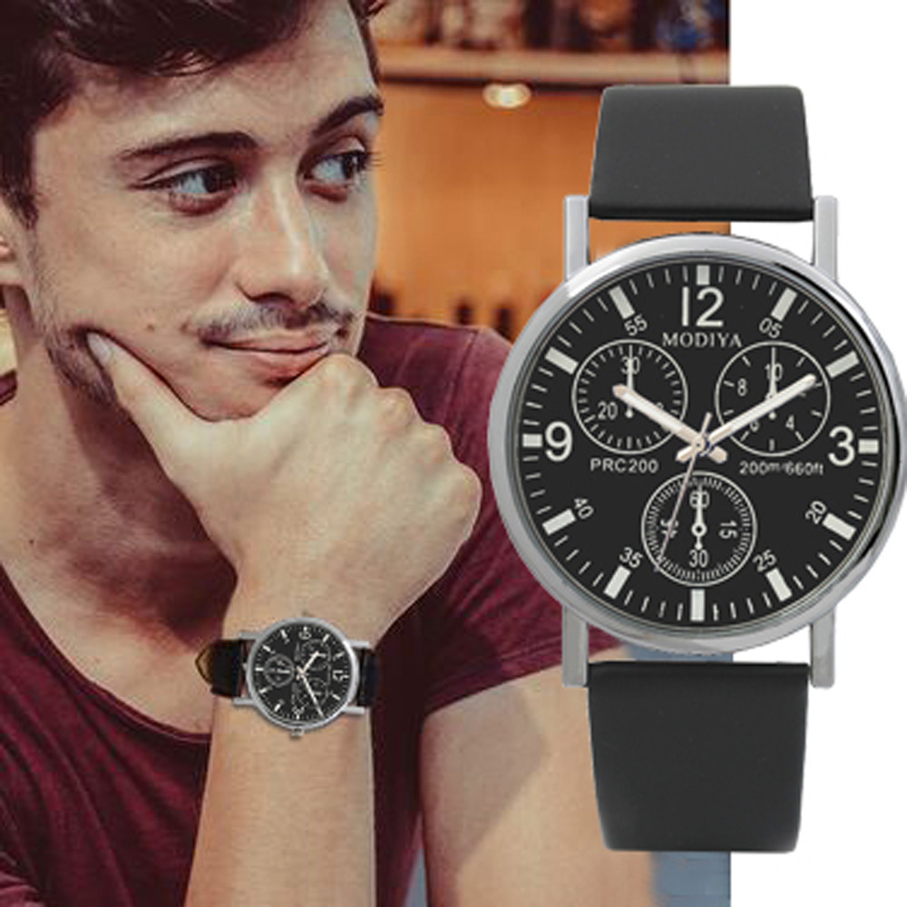 Men's Watches Three Eye Watches Quartz Watch Blue Glass Belt Watch Men Black Digital Dial Beobachten Business Male Clock New B40