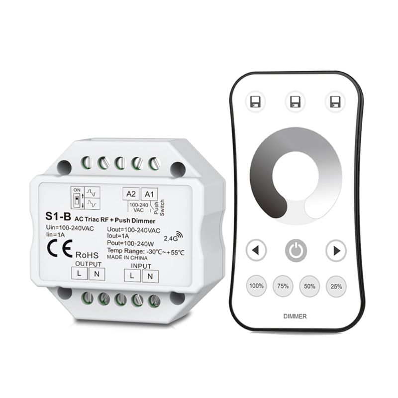 Wireless AC RF Triac Dimmer With 2.4G Remote Controller Kit Dimmable Push Switch For LED Lamp|Dimmers| |  - title=