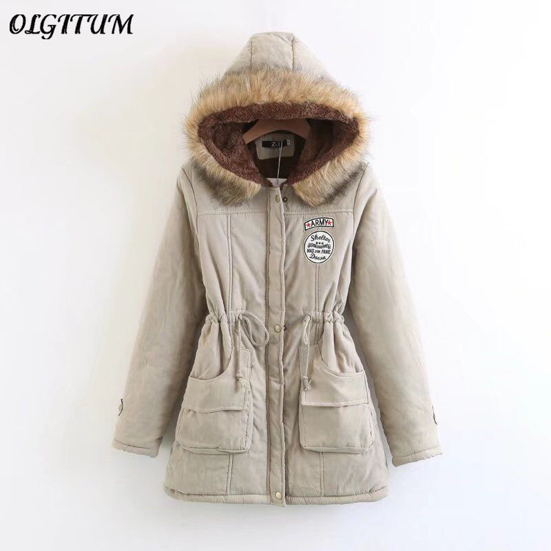 S 3XL OLGITUM 2018 Winter Coat Women Parka Casual Outwear Military Hooded Thickening Cotton Coat Winter