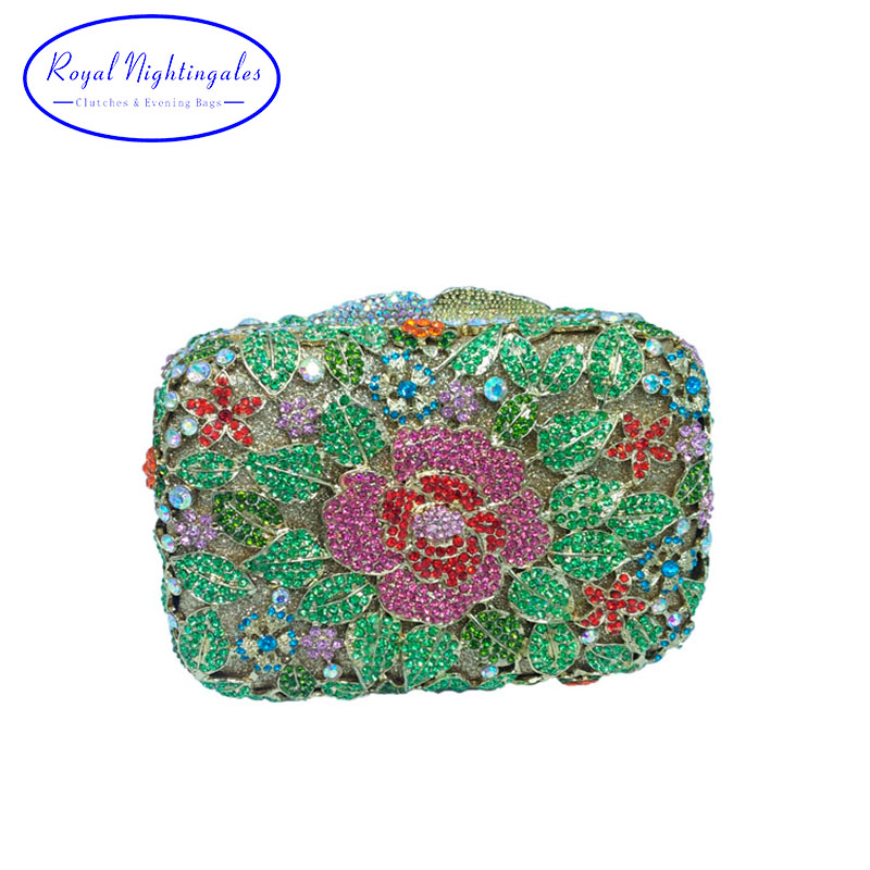 Luxury Flower Metal Clutch Crystal Rhinestone Evening Bags and Clutches for Bridal Prom Evening Party rhinestone flower embroidered evening bag