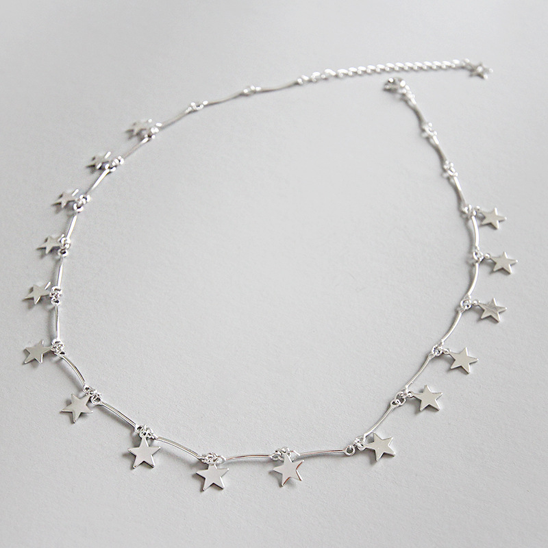 Real 925 sterling silver choker necklace women accessories, chic star necklaces chockers collares femme gift silver 925 jewelryReal 925 sterling silver choker necklace women accessories, chic star necklaces chockers collares femme gift silver 925 jewelry