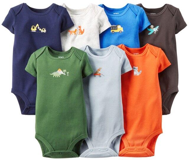 7pcs/lot Baby Body suit Summer Baby Clothing Set Newborn Baby Boy Girl Clothes Short-Sleeve Cotton Baby Romper Jumpsuit rosherun