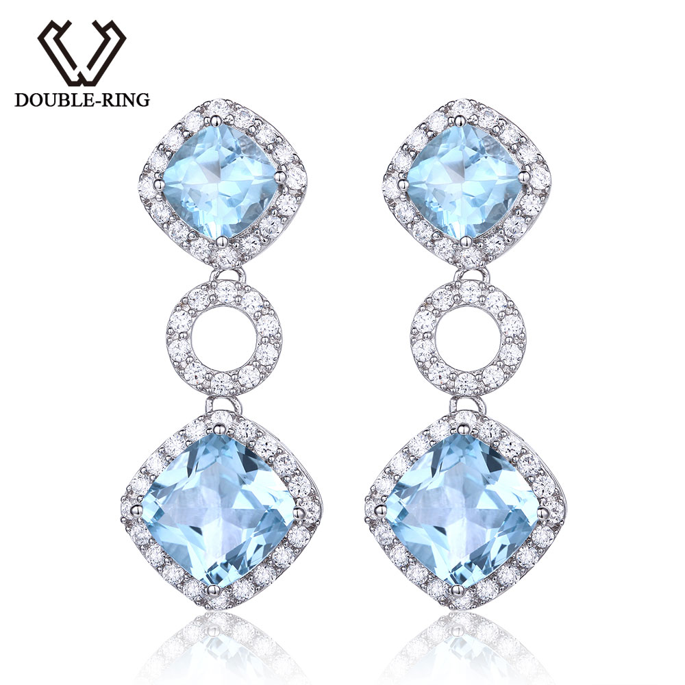 Natural 100 Top Imperial Topaz 1427 Double R Genuine Blue Gemstone 925 Sterling Silver Drop Earrings For Women Wedding