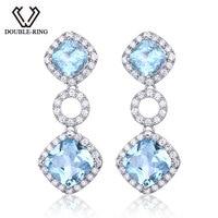 DOUBLE R Genuine Natural Blue Topaz Gemstone 925 Sterling Silver Drop Earrings For Women Wedding Earrings