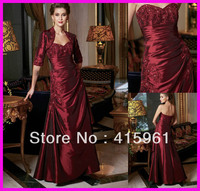 2019 Burgundy Beaded Lace Mother of Groom mother of the bride dresses With Jacket for weddings Taffeta
