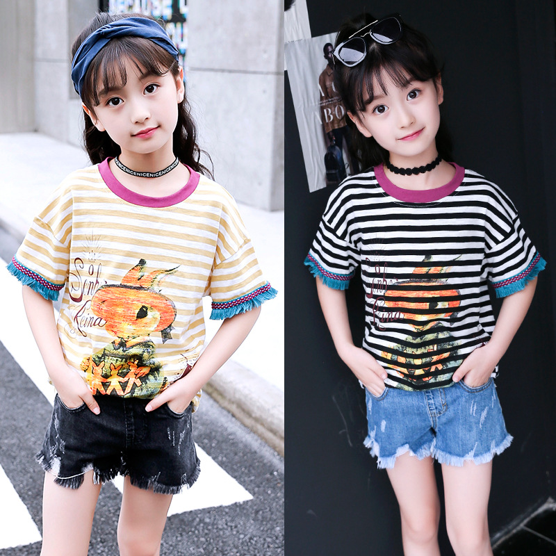 2019 Summer Fashion Casual O-Neck Short Sleeve Striped Hole T Shirts Cartoon Tees Tops for 6-10T Big Girls image