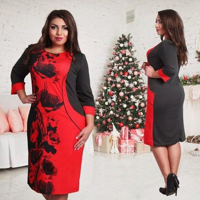5XL 6XL Большой Размер 2017 Весна Dress Большой Размер Печатных Dress Розовый Красный Прямо офис Платья Плюс Размер Женская Одежда Vestidos