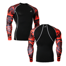 Men s Gear Tight Skin Compression Shirts Long Sleeves Sides 3D Prints Male Breathable Quick Dry