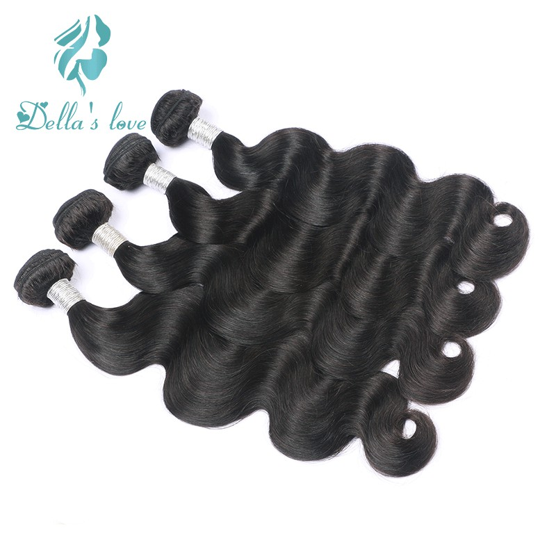 Brazilian Hair Weave Bundles Remy Hair 4 Pcs Human Hair Weaving Natural Black Color Hair Extensions Dellas Love Free Shipping