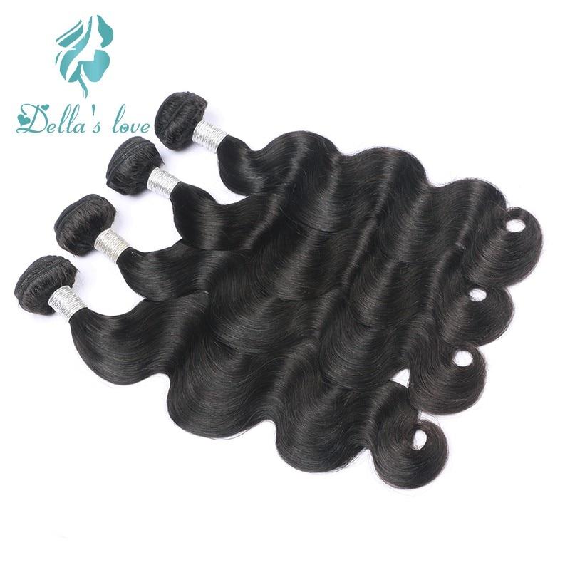 Brazilian Hair Weave Bundles Remy Hair 4 Pcs Human Hair Weaving Natural Black Color Hair Extensions Dellas Love Free Shipping