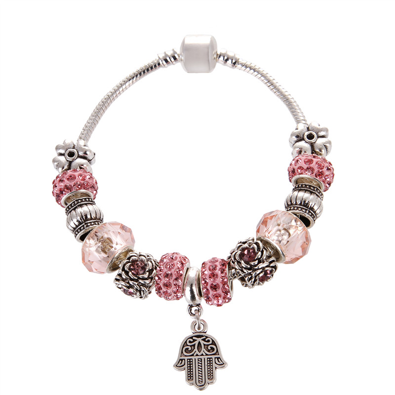 European Style Vintage Pink Crystal Palm Pendant Silver plated Noble Elegant Pandora Bracelet For Women/Gril gift jewelry