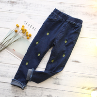 Baby Girl Leggings Pants Fashion Velvet Denim Sport Pants Cute Pineapple Embroidery Printed Toddler Cowboy Pants