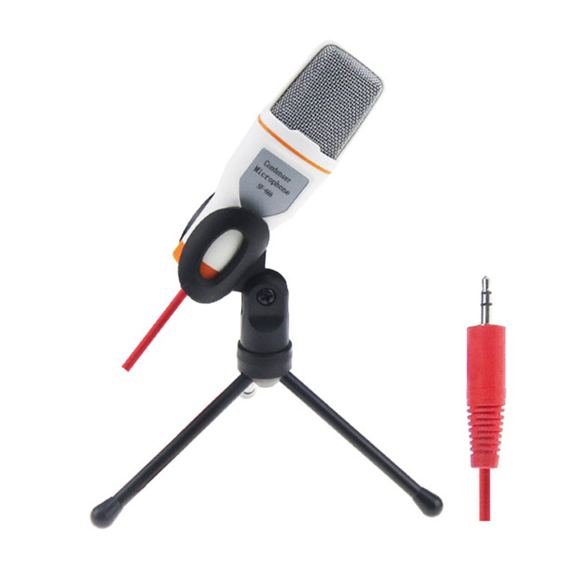 New Professional  Wired High Quality Stereo Condenser Microphone With Holder Clip For  Chatting MSN Karaoke Portable PC SF - 666