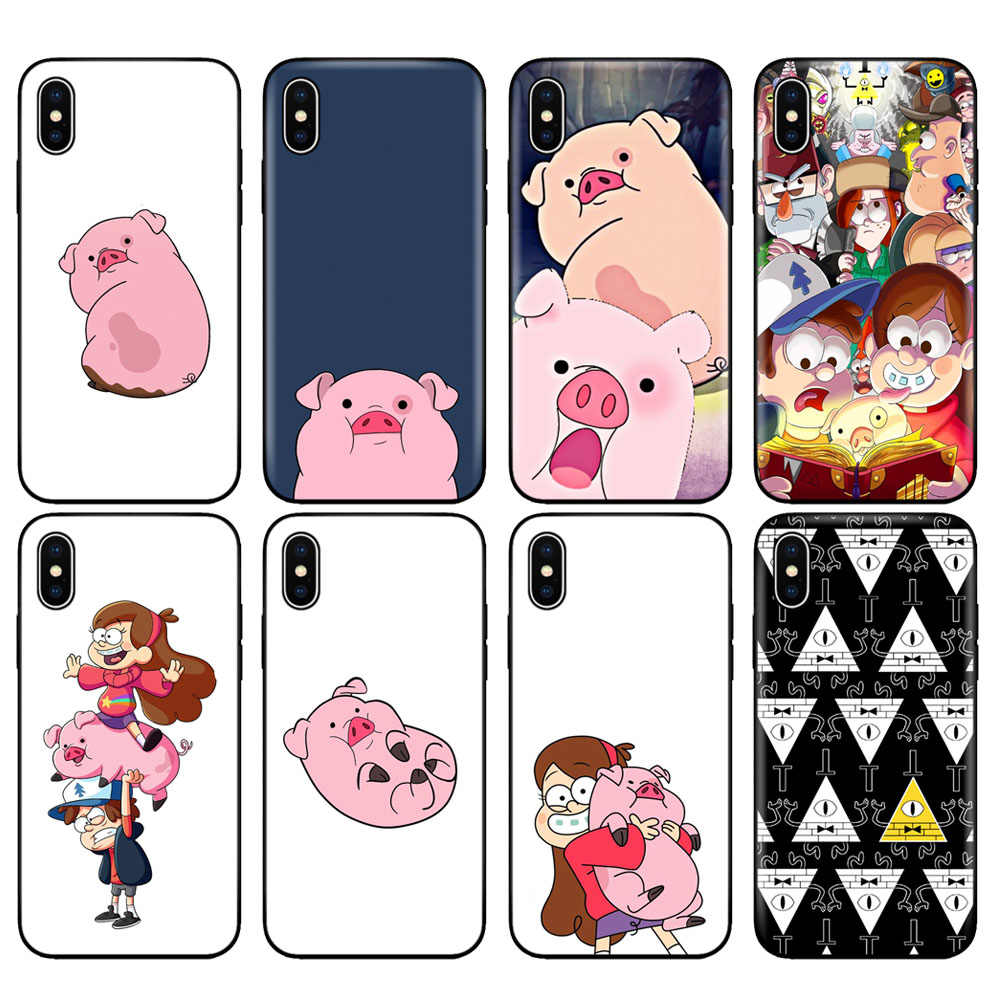 Black tpu case for iphone 5 5s se 6 6s 7 8 plus x 10 case silicone cover for iphone XR XS MAX case Gravity Falls pig