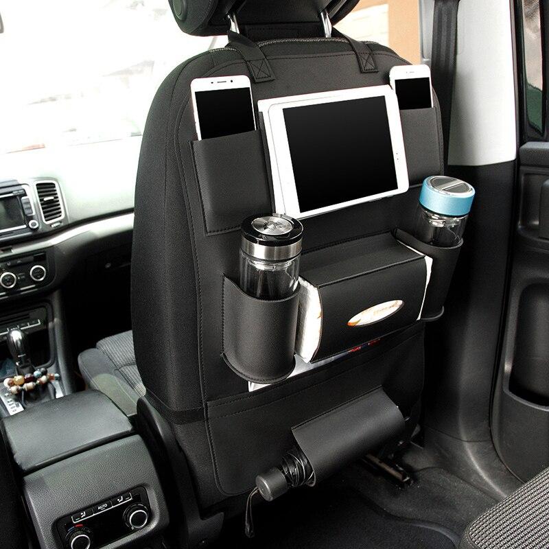 Cuoio Car Seat Torna Piegante Portatile Storage Bag Multi-Uso Auto Organizzatori Nero Auto di Archiviazione Portatile Borse Auto Organizer tronco