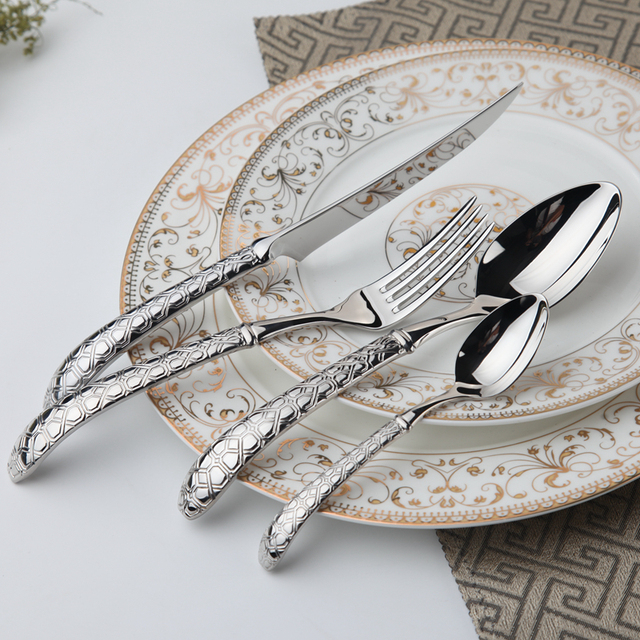 Stainless Steel Dinnerware Set 24 Pcs Steel Flatware Metal Fork Vintage Spoon Knives Forks Spoons Wedding Cutlery Quality Food