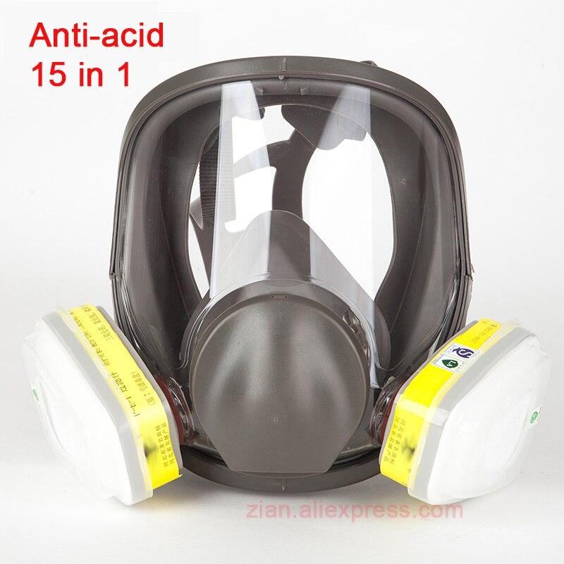15 en 1 masque à gaz complet Protection acide peinture laboratoire chimique médical 6800 masque de sécurité respirateur avec 6002 filtres