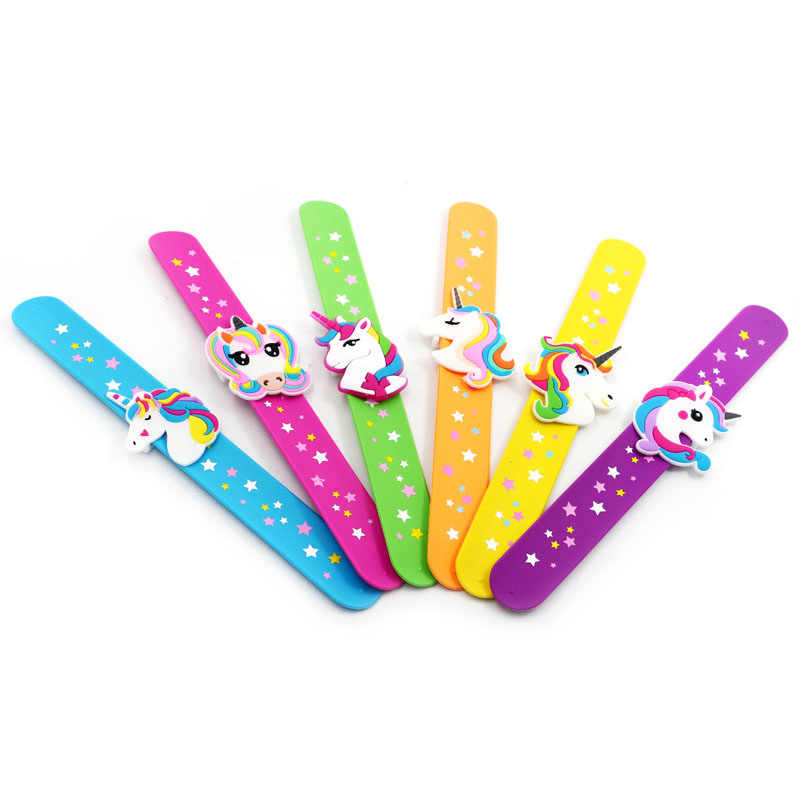 New Children Girl Boy Star Printing Unicorn Cartoon Wristband Kids Flexible Wrap Slap Bracelet Animal Enfant Bangle Gift Favors