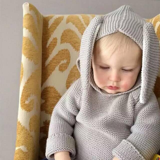 Bebê das meninas dos meninos inverno camisola ocasional crianças coelho malhas jumper crianças bobo choses blusas queda do outono do bebê roupas