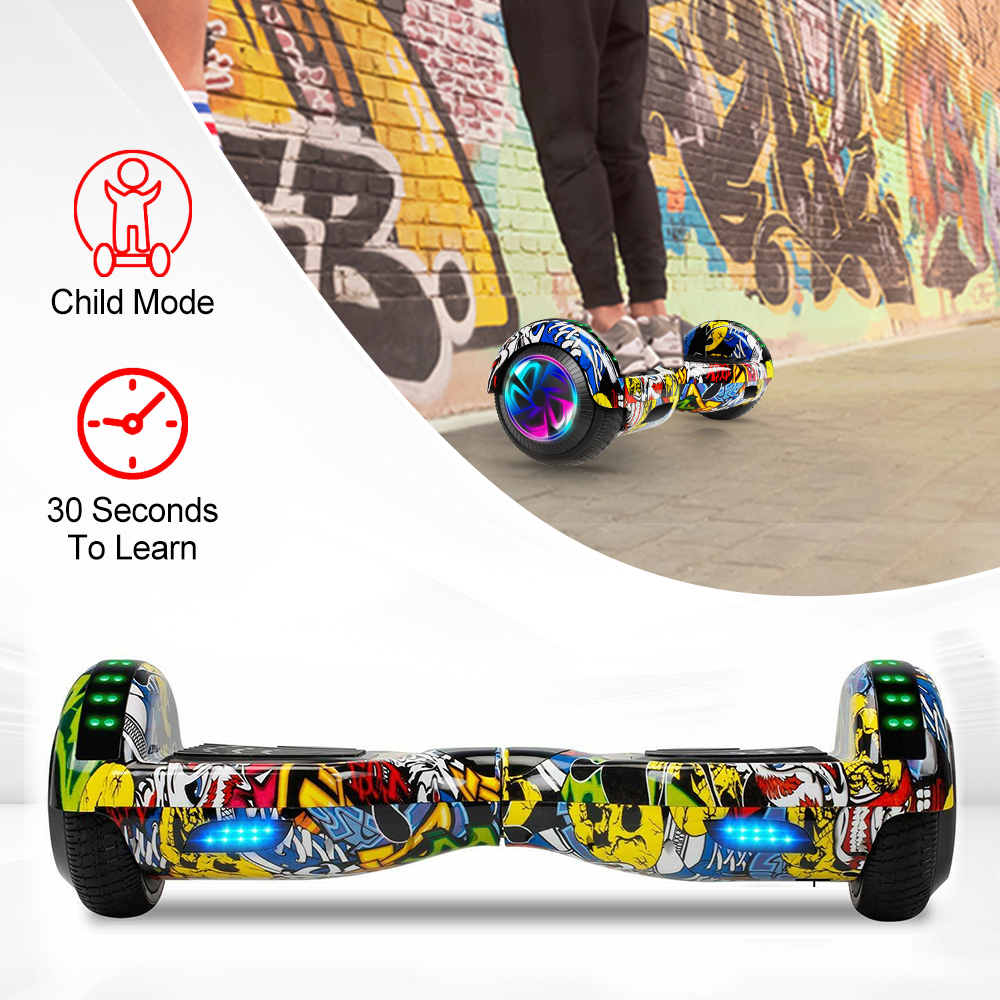 6 5 Inch Electric Scooters Bluetooth Speaker Hoverboard Self Balance Scooter Smart Electric Skateboard LED Hover Board Oxboard in Self Balance Scooters from Sports Entertainment