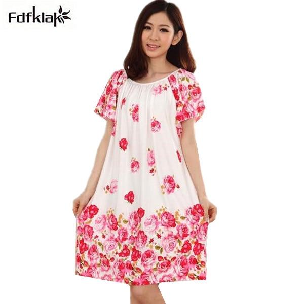 Loose Plus Size Nightgowns For Women Long Cartoon Girls Nightshirts Nightdress Cotton And Silk Sleepshirt Summer Dressing Gowns