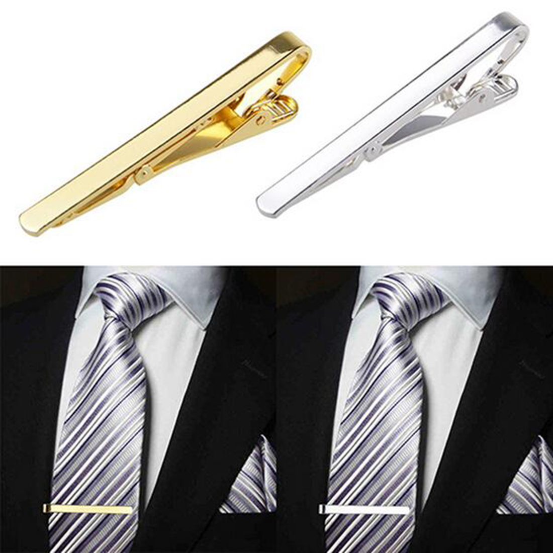 Men Tie Clips Fashion Metal Silver Gold Simple Necktie Tie Bar Clasp Clips Clamp Pins For Men Gift New Design