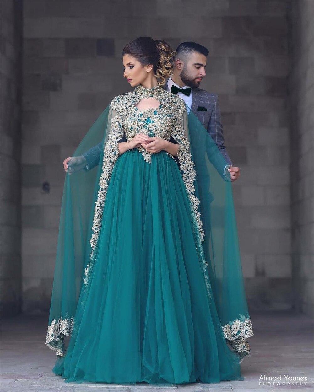 2019 Elegant Robe Soiree Dubai Kaftan Dress Arabic Evening Gown with Cape Gold Applique Tulle Green Evening Dress long Abiye