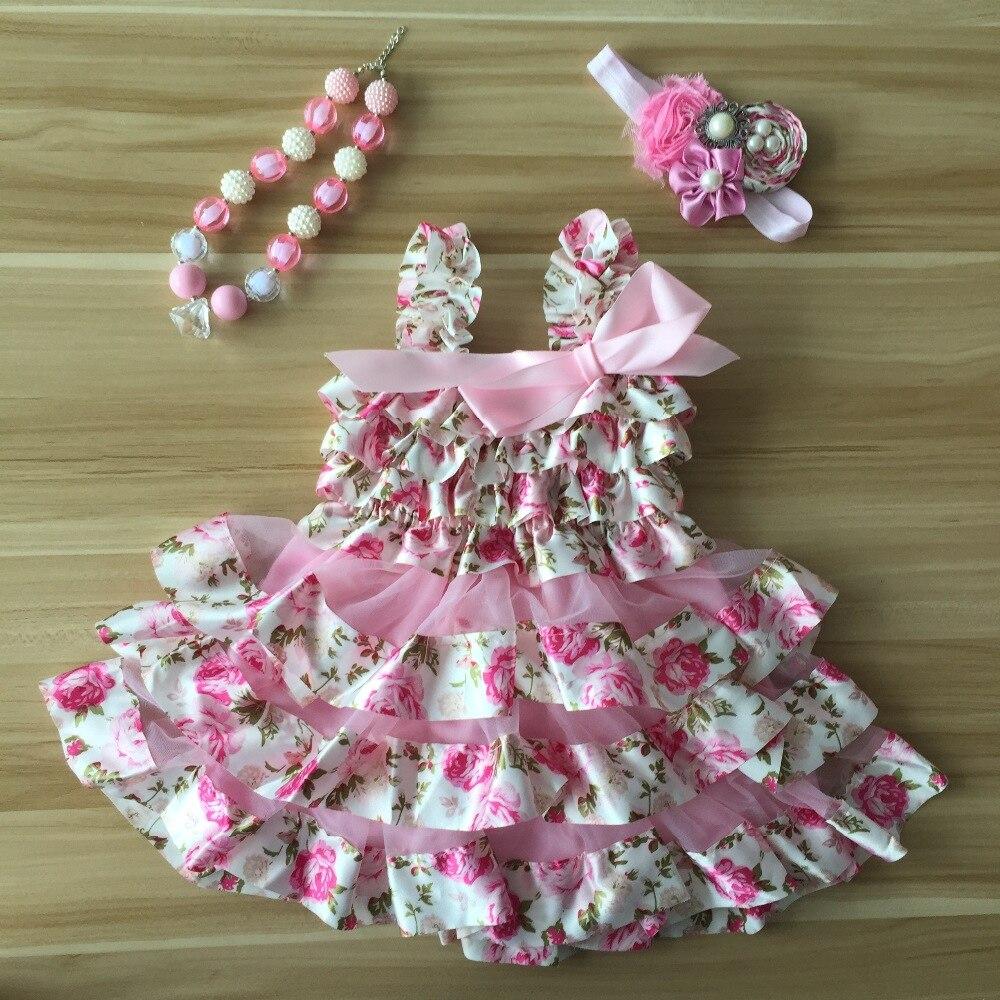 2018 new Fashion Newborn girl summer dress Infant Dresses Baby Baptism Dresses Baby Ruffle Chiffon Lace Lovely Chic Dress preppy off the shoulder ruffle chiffon dress