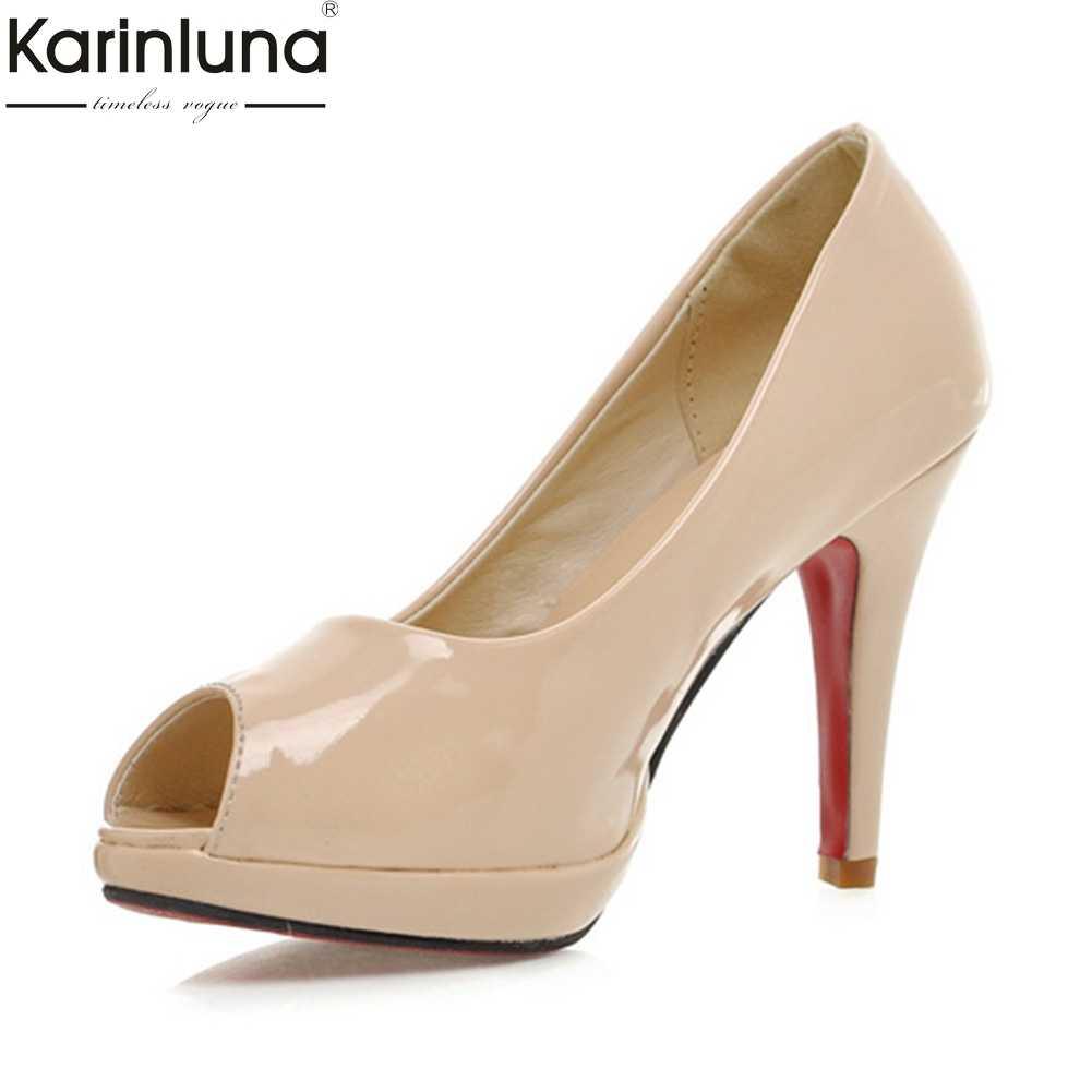 7f0464b42a91 KARINLUNA 2018 Plus Size 31-43 Platform Peep Toe Spring Summer Pumps  women s Shoes Thin