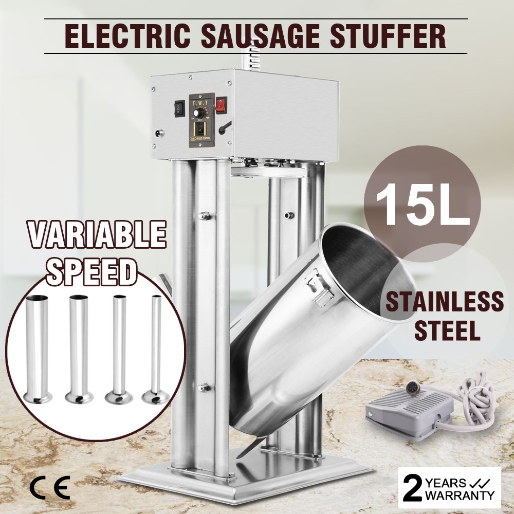 EU FREE SHIPPING 15L 33LBS ELECTRIC SAUSAGE FILLER STUFFER MAKER COMMERCIAL STUFFING GREAT
