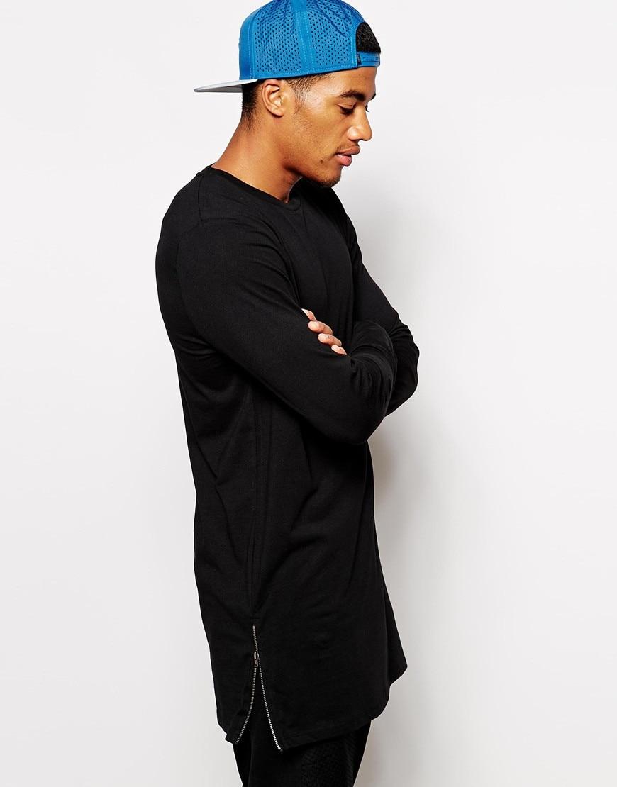 Black t shirt zips - Free Shipping Black Color Fashion Men S Long Line Tall Sweatshirt Zip T Shirt For Men Long