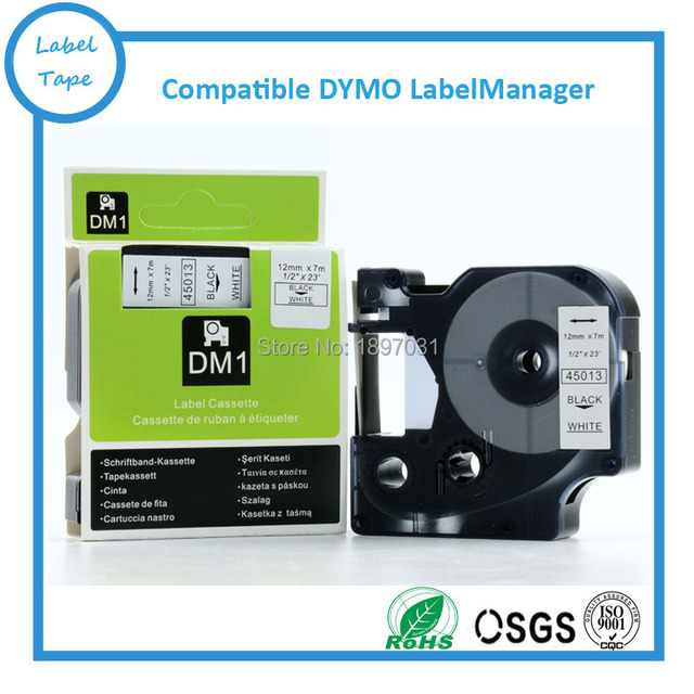 50pcs Compatible Dymo Labelmanager 12mm D1 Black on White Dymo Maker 45013 D1 Label Tape Cartridges (Factory Supply)
