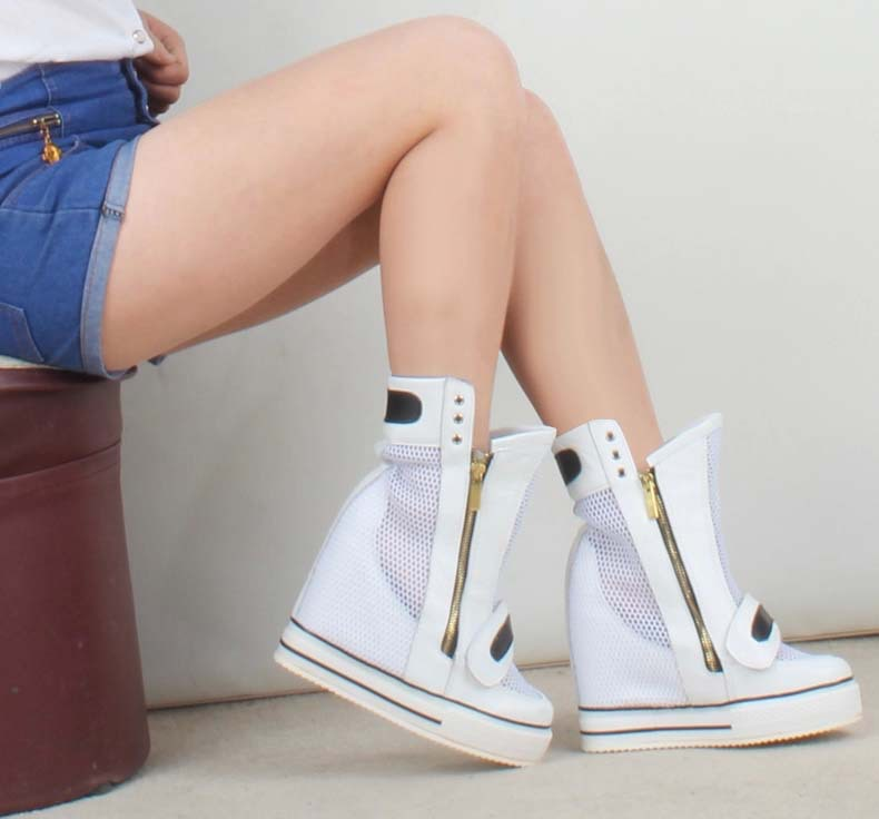2017 women fashion ankle boots zip breathable sexy platform wedges height increasing high top heels female ladies casual shoes women sandals 2017 summer style shoes woman wedges height increasing fashion star gladiator platform female ladies shoes casual