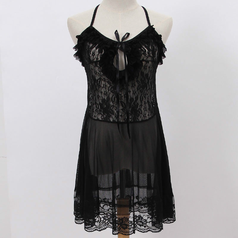 Sexy Babydoll Lingerie Erotic Women Black Lace Porno Costume Sleepwear Dress Transparent Hollow-out Chemise Underwear Lenceria