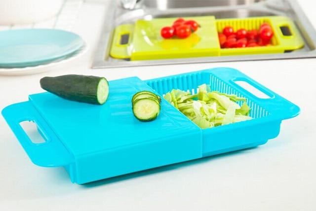 US $11.88 5% di SCONTO|Multifunzione blocchi tagliere da cucina cesto di  scarico tagliere antiscivolo glassato antibatterico tagliere da cucina in  ...