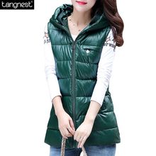 TANGNEST Fashion WINTER VEST Long 2016 Brand Plus Size Hooded Warm Coat Casual Cotton Padded Sleeveless Jacket  WWV267