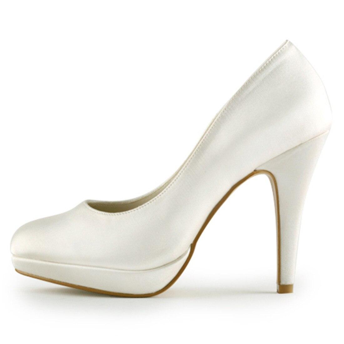 Elegante Dünne High Heels Braut Brautjungfer Elfenbein Weiß Champagner Plattform Pumpen Luxus Satin Hochzeit Schuhe Uninnova 521 1 LY - 2