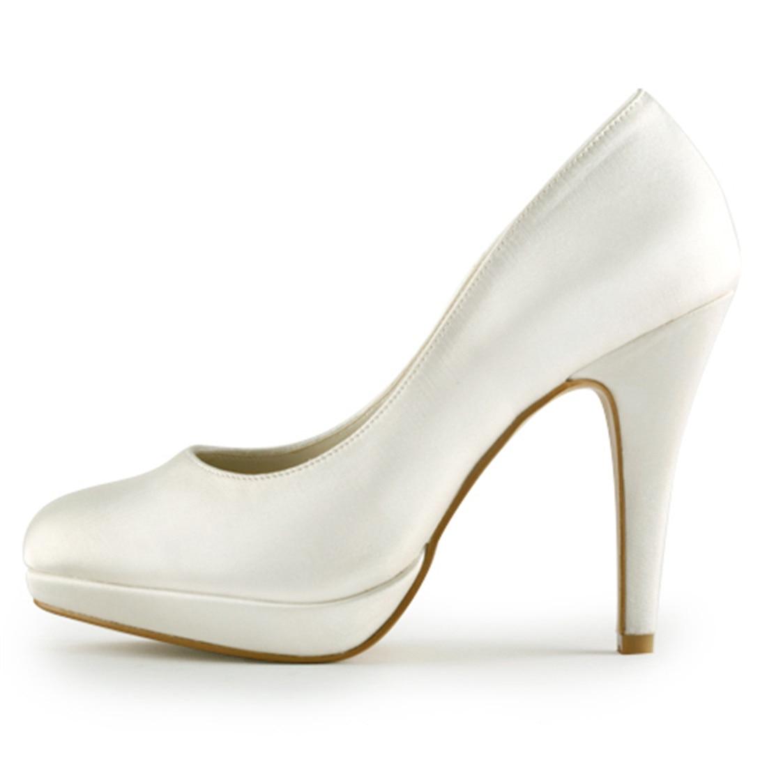 Elegantes Saltos Altos Finos Plataforma Bombas de Noiva de Cetim de Luxo Nupcial Da Dama de Honra Do Marfim Branco Champanhe Sapatos Uninnova 521 1 LY - 2