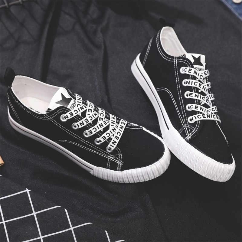 Zapatillas de lona para mujer zapatos cómodos cordones con letras vulcanizadas planos Casual Chaussure cordones zapatillas de mujer calzado