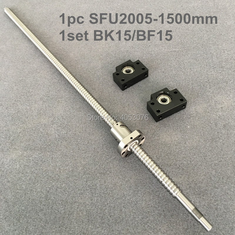 Ball screw SFU / RM 2005- 1500mm Ballscrew with end machined + 2005 Ballnut + BK/BF15 End support for CNC ball screw sfu rm 1610 1500mm ballscrew with end machined 1610 ballnut bk bf12 end support for cnc