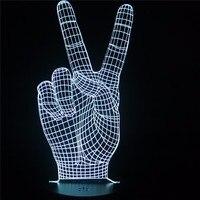 Home Decor Acrylique 3D LED Lampe Main Victoire Signe Lumière LED moderne Salon Table Lampe Micro USB Humeur Bulbaison Lumière Pour Ami cadeau