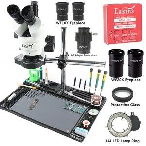 Image 1 - 3.5x 7x 45x 90x simull focal microscópio estereofônico trinocular 37mp hdmi banco de trabalho da câmera do microscópio de vídeo para a solda do pwb reapir