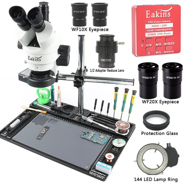 3.5x 7x 45x 90x simull focal microscópio estereofônico trinocular 37mp hdmi banco de trabalho da câmera do microscópio de vídeo para a solda do pwb reapir