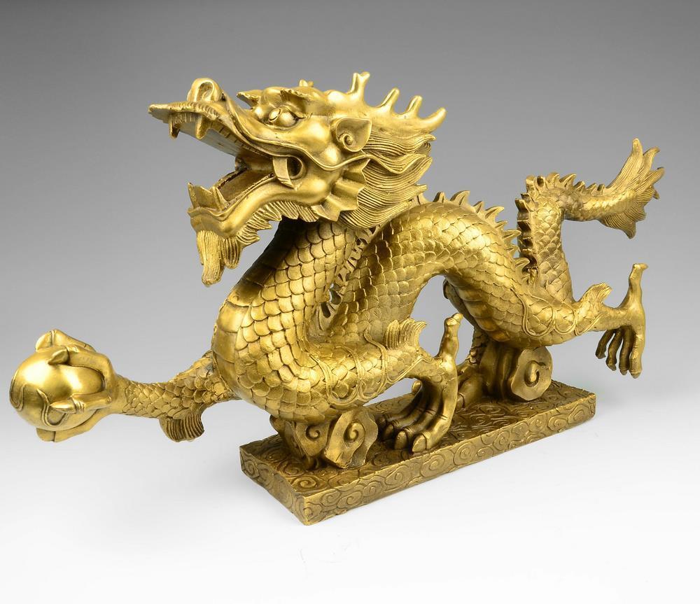 Bronze, ornements de dragon, Feng Shui, décorations, ameublement, bureau, artisanat de Dragon en cuivre, statue, figurine, cadeau ~