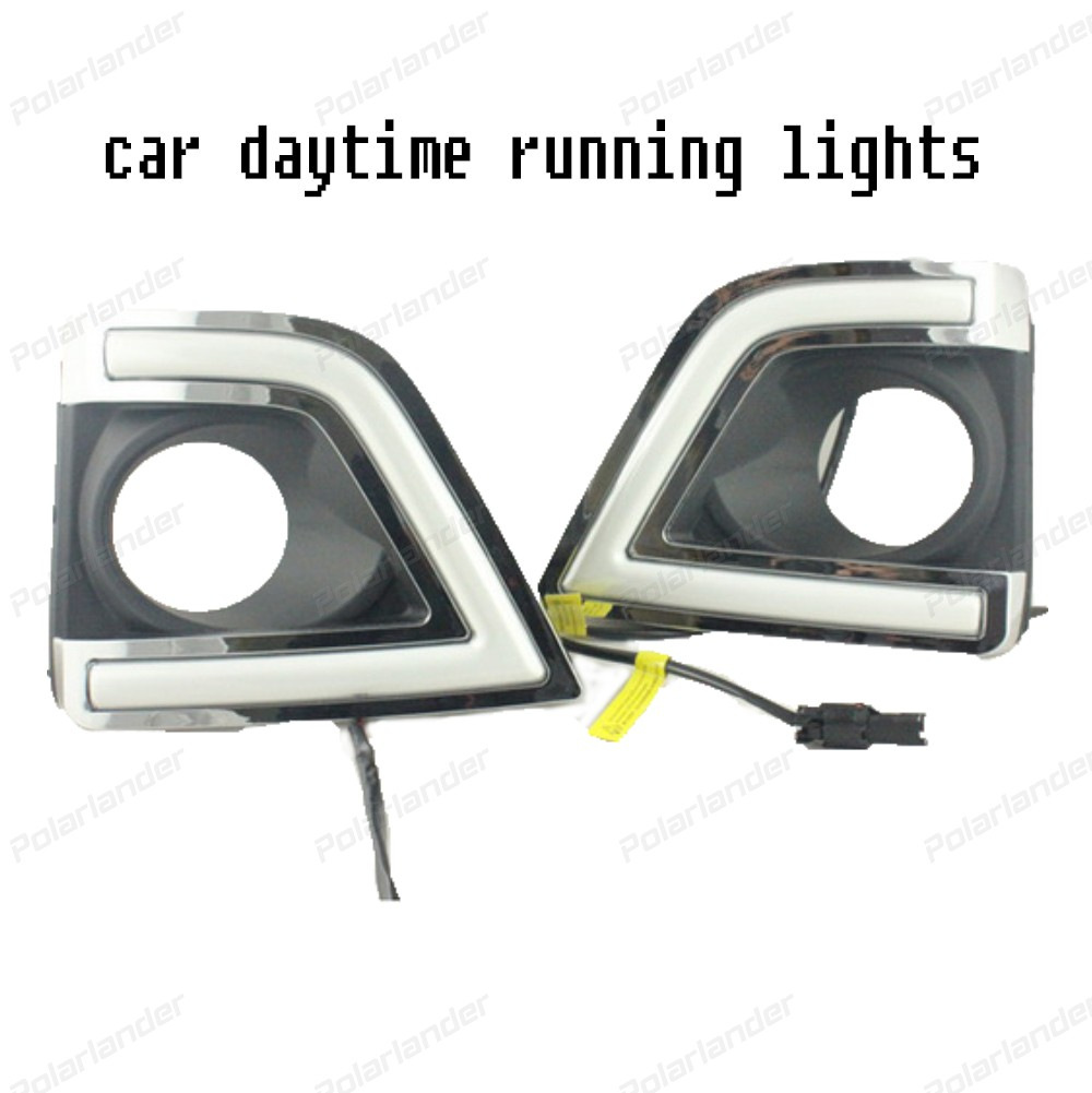1 pair Auto Parts Daytime Running Light For T/oyota C/orolla Altis 2014 2015 DRL led Fog Light Cover Front Lamp Car Styling