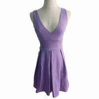 Foamlina Seksi kadın Kulübü Elbise Yeni Moda Yaz Mor Pilili Elbise Derin V Yaka Yüksek Bel Parti Kısa Elbiseler Vestidos