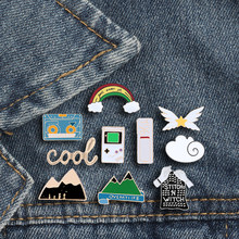 Cool Brooch Mountain Rainbow Pin Badge Game Machine Volcano Witch Battery Tape Cloud Buckle Metal Enamel Jewelry Gift For Women(China)